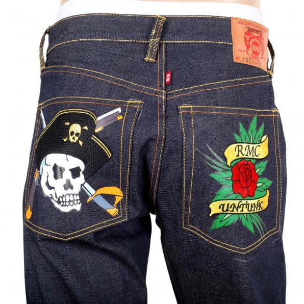 RMC JEANS Regular Fit Dark Indigo Raw Selvedge Denim with Embroidered British Pirate and Rose