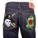 RMC JEANS Regular Fit Dark Indigo Raw Selvedge Denim with Embroidered British Pirate and Rose