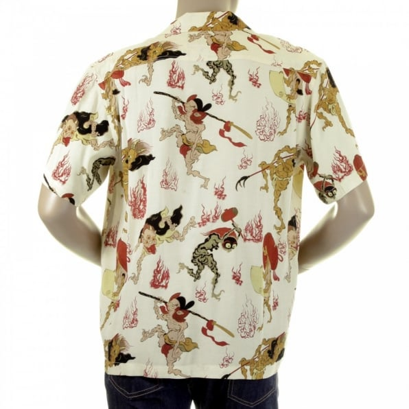 RMC JEANS Regular Fit Short Sleeve Shirts for Men with Japanese Ghost Print
