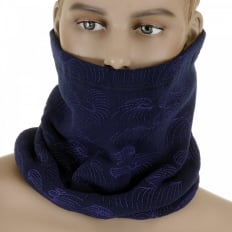 Reversible Navy Neck Warmer Snood with Toggle and Pull Cord