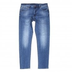 RMC Red Monkey RPQ16135 Mens Washed Light Blue Slim Stretch Denim Jeans with Button Fly and Fading and Creasing