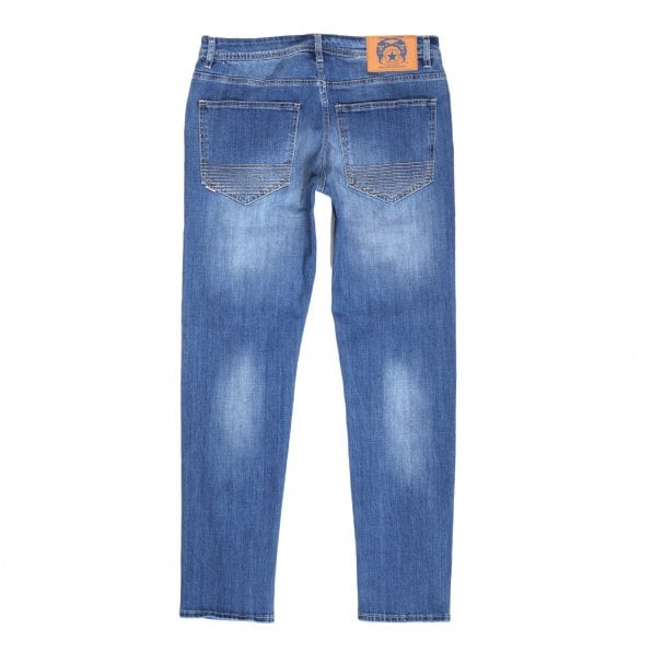 RMC JEANS RMC Red Monkey RPQ16135 Mens Washed Light Blue Slim Stretch Denim Jeans with Button Fly and Fading and Creasing