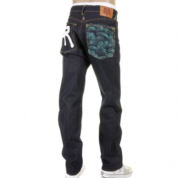 RMC JEANS Rock n Roll Slim Cut Dark Indigo Raw Denim Jeans for Men