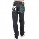 RMC JEANS Rock n Roll Slim Cut Dark Indigo Raw Denim Jeans for Men