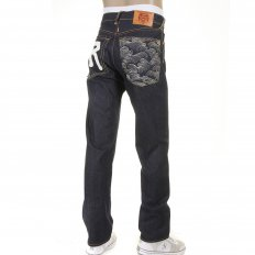Rock N Roll Tsunami Wave Mens Slim Fit Dark Indigo Raw Denim Jeans
