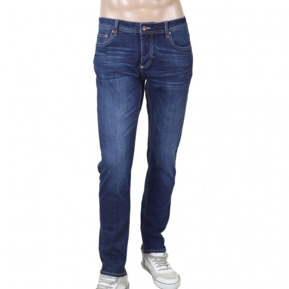 RMC JEANS RPQ16135 Mens Washed Dark Blue Slim Japanese Stretch Denim Jeans with Fading and Creasing