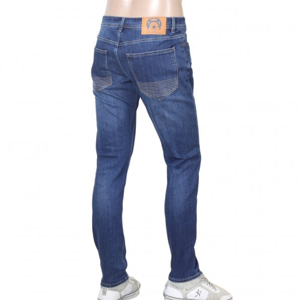 RMC JEANS RPQ16135 Mens Washed Mid Blue Slim Stretch Denim Jeans with Fading and Creasing RMC7522