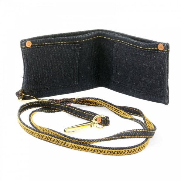 RMC JEANS Selvedge Indigo Denim Double Bill Fold Wallet with Key Chain