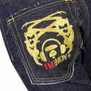 RMC JEANS Selvedge Indigo Raw Japanese Denim with Embroidered Gold and Red Logo