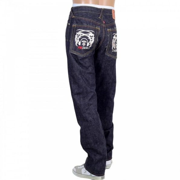 RMC JEANS Selvedge Indigo Raw Japanese Denim with Embroidered Silver and Red Logo