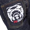 RMC JEANS Selvedge Indigo Raw Japanese Denim with White Embroidered FM Union