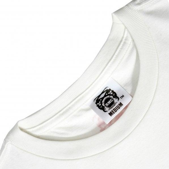 RMC JEANS Shehana Yogahar Flower Short Sleeve Crew Neck White T Shirt