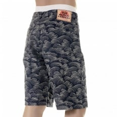 Shop for Mens Denim Shorts with White Embroidery