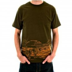 Short sleeve Crew Neck cotton t-shirt in army-green