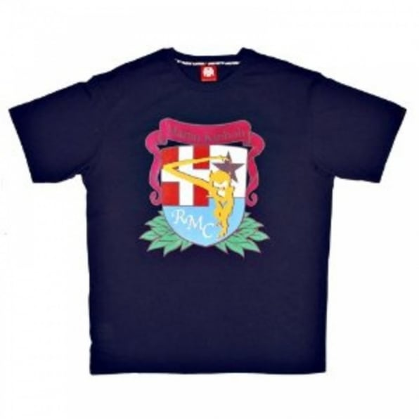 RMC JEANS Short Sleeve Crew Neck Navy Blue T Shirt with Brand School Crest