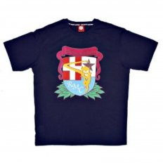 Short Sleeve Crew Neck Navy Blue T Shirt with Brand School Crest