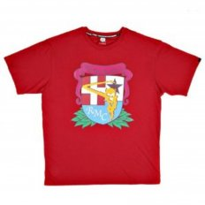Short Sleeve Red Crew Neck T-Shirt with Brand School Crest