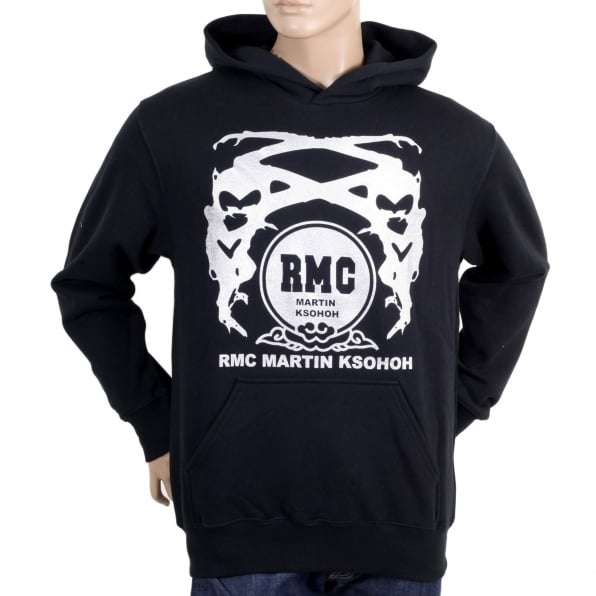 RMC JEANS Silver Logo Black Hoodie with Kangaroo Pockets
