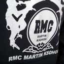 RMC JEANS Silver Logo Black Hoodie with Kangaroo Pockets