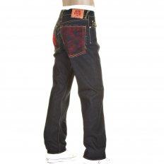 Slim Cut Selvedge Dark Indigo Raw Denim Jean with Red Logo