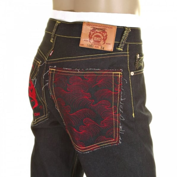RMC JEANS Slim Cut Selvedge Dark Indigo Raw Denim Jean with Red Logo