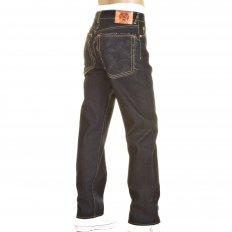 Slim Cut Super Exclusive Design Dark Indigo Raw Denim Jean with Charcoal Logo