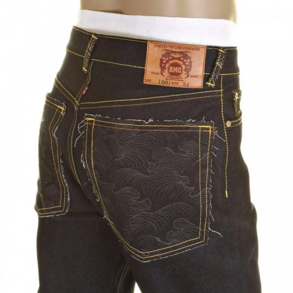 RMC JEANS Slim Cut Super Exclusive Design Dark Indigo Raw Denim Jean with Charcoal Logo