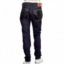 RMC JEANS Slim Model Indigo Raw Selvedge Denim Jeans with Black Bushi Embroidery