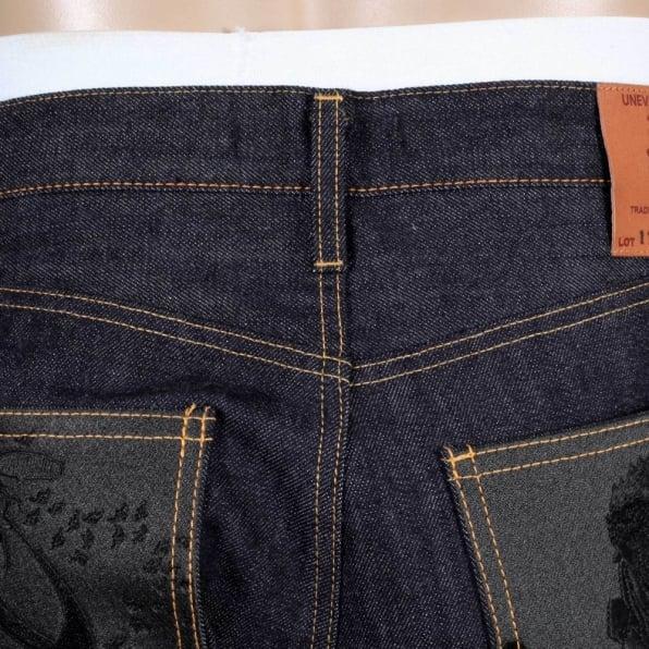 RMC JEANS Slim Model Indigo Raw Selvedge Denim Jeans with Black Bushi Embroidery