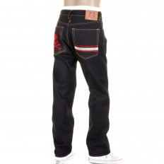 Slimmer Cut Dark Indigo Raw Denim Jeans for Men