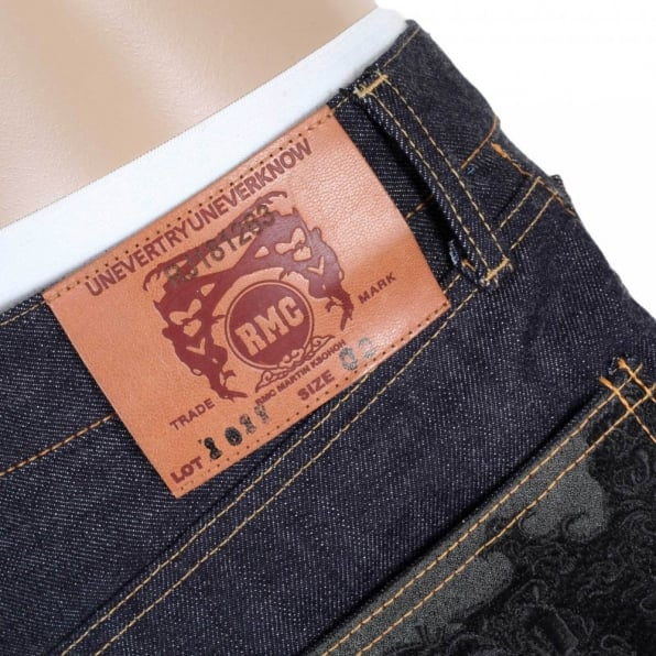 RMC JEANS Slimmer Cut Indigo Raw Denim Selvedge Jeans for Men with Black Bushi Embroidery