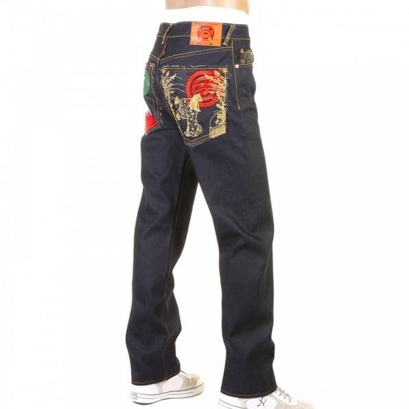 RMC JEANS Slimmer Cut Mens Dark Indigo Raw Denim Jeans with Super Exclusive design with Japanese Art