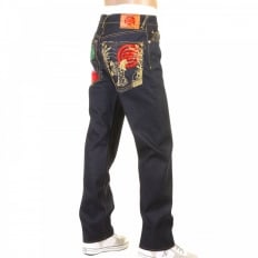 Slimmer Cut Mens Dark Indigo Raw Denim Jeans with Super Exclusive design with Japanese Art