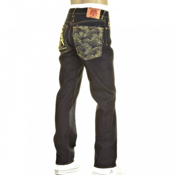 RMC JEANS Slimmer Cut Mens Super Exclusive Design Dark Indigo Raw Denim Jean