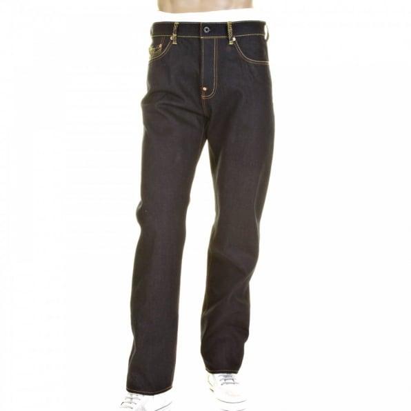 RMC JEANS Slimmer Cut Mens Super Exclusive Design Dark Indigo Raw Denim Jean