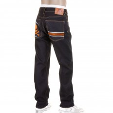 Slimmer Cut Selvedge Dark Indigo Raw Denim Jeans with Embroidered Skull