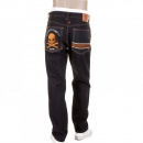 RMC JEANS Slimmer Cut Selvedge Dark Indigo Raw Denim Jeans with Embroidered Skull