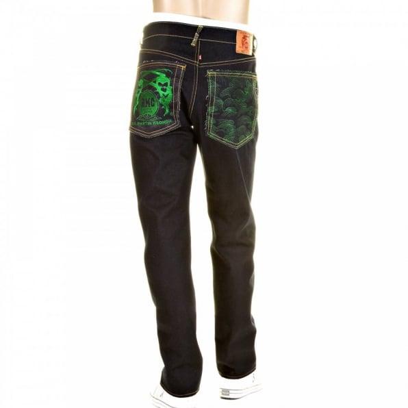 RMC JEANS Slimmer Cut Super Exclusive Design Dark Indigo Raw Denim Jean