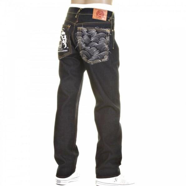 RMC JEANS Slimmer Cut Super Exclusive Design Dark Indigo Raw Denim Jeans