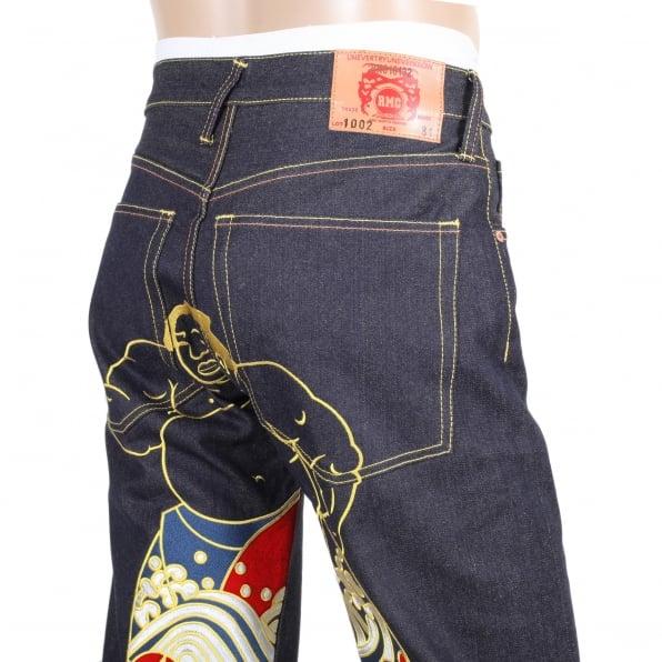 RMC JEANS Super Exclusive Dark Indigo Raw Denim Jeans with Sumo Wrestler Embroidery