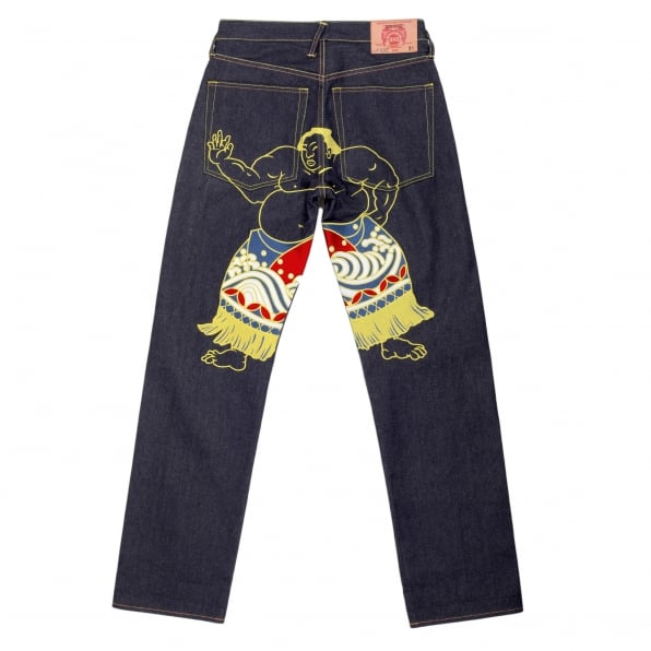 RMC JEANS Super Exclusive Dark Indigo Raw Denim Jeans with Sumo Wrestler Embroidery