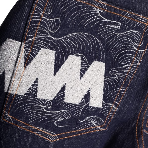 RMC JEANS Super Exclusive Dark Indigo Raw Denim Jeans with with Silver Embroidered 4A