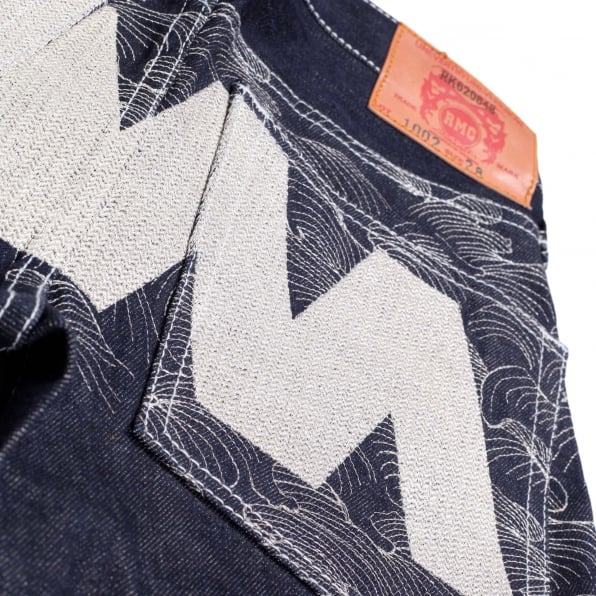 RMC JEANS Super Exclusive Dark Indigo Selvedge Raw Denim Jeans with Like Black Silver Embroidery