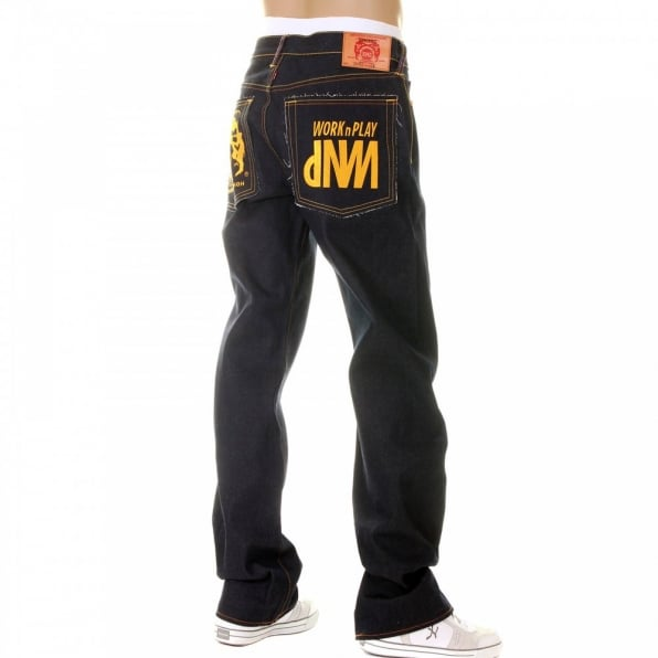RMC JEANS Super Exclusive Design Dark Indigo Raw Denim Jeans with Gold Embroidery