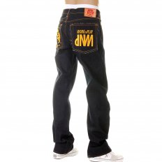 Super Exclusive Design Dark Indigo Raw Denim Jeans with Gold Embroidery