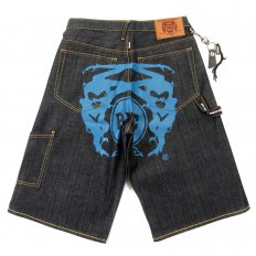 Super Exclusive Design Dark Indigo Raw Denim Short with Blue Painted Logo