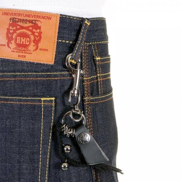 RMC JEANS Super Exclusive Design Dark Indigo Raw Denim Short with Blue Painted Logo