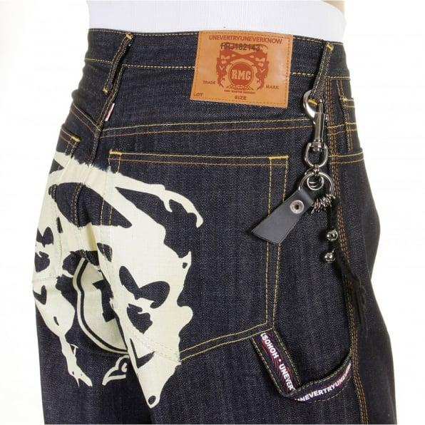 RMC JEANS Super Exclusive Design Dark Indigo Raw Denim Shorts with Off White Painted Logo