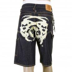 Super Exclusive Design Dark Indigo Raw Denim Shorts with Off White Painted Logo
