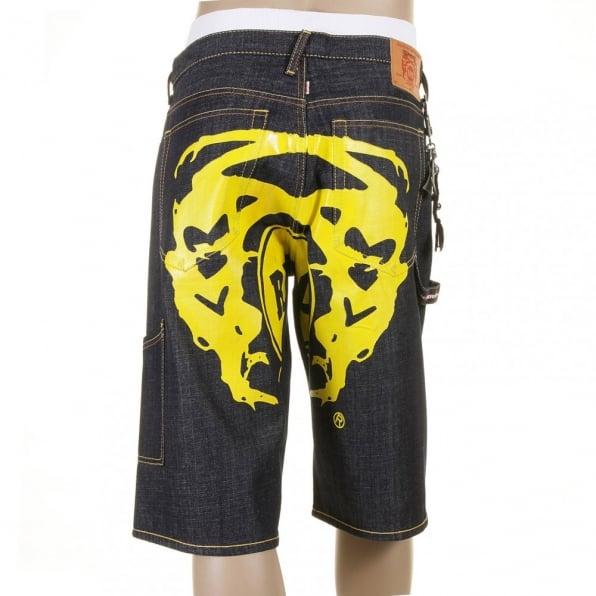 RMC JEANS Super Exclusive Design Dark Indigo Raw Denim Shorts with Painted Yellow Logo